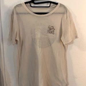 Vans Off The Wall gauze ivory T-shirt size M EUC
